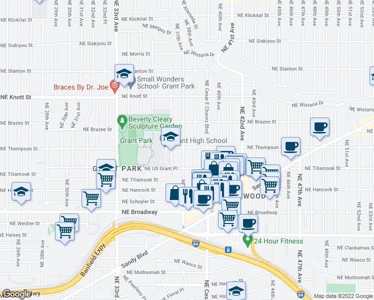 map of restaurants, bars, coffee shops, grocery stores, and more near 3706 Northeast Thompson Street in Portland
