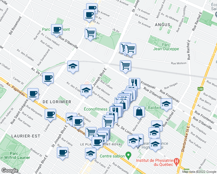 map of restaurants, bars, coffee shops, grocery stores, and more near 4780 Rue Fullum in Montréal
