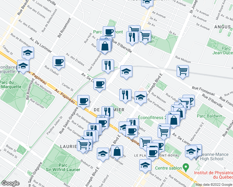 map of restaurants, bars, coffee shops, grocery stores, and more near 5273 Avenue de Lorimier in Montréal