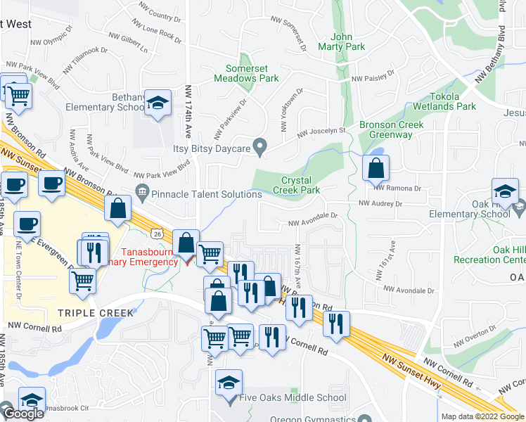 map of restaurants, bars, coffee shops, grocery stores, and more near 16800 Northwest Paddington Drive in Beaverton