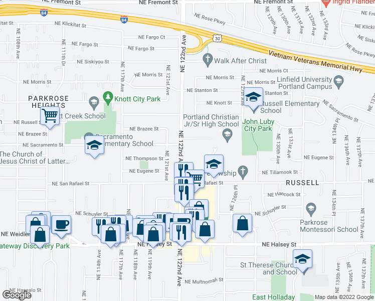 map of restaurants, bars, coffee shops, grocery stores, and more near 2316 Northeast 122nd Avenue in Portland