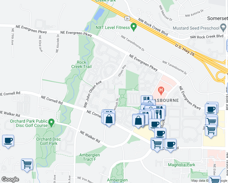 map of restaurants, bars, coffee shops, grocery stores, and more near 2501 Northwest Overlook Drive in Hillsboro