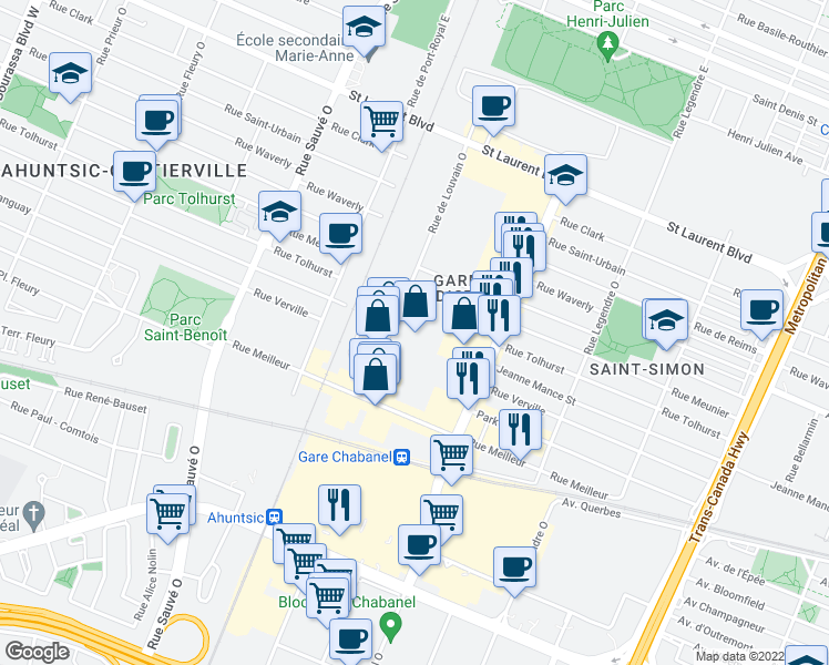 map of restaurants, bars, coffee shops, grocery stores, and more near 350 Rue de Louvain Ouest in Montréal