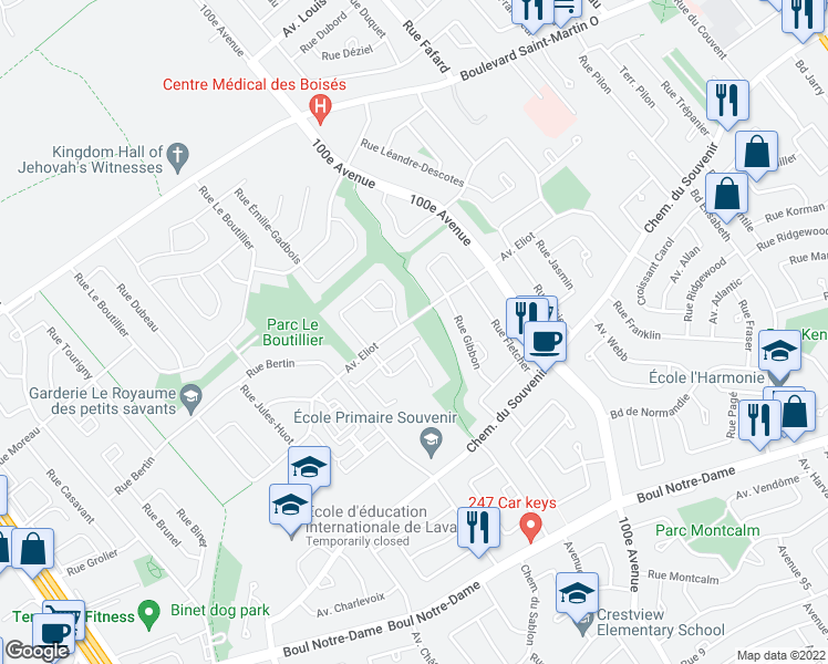 map of restaurants, bars, coffee shops, grocery stores, and more near 4961 Avenue Eliot in Laval