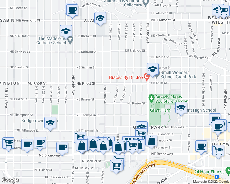 map of restaurants, bars, coffee shops, grocery stores, and more near 2581 Northeast 30th Avenue in Portland
