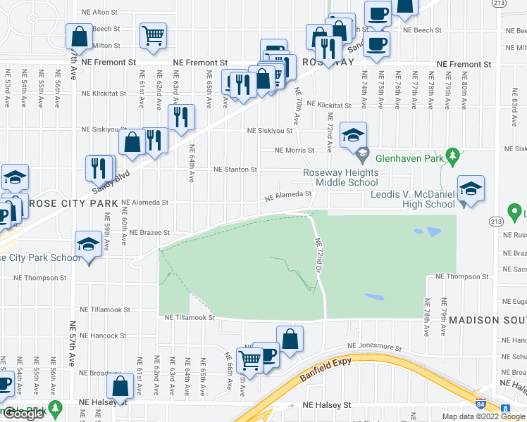 map of restaurants, bars, coffee shops, grocery stores, and more near 2608 Northeast 68th Avenue in Portland