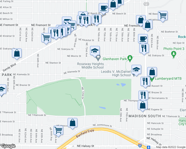 map of restaurants, bars, coffee shops, grocery stores, and more near 7303 Northeast Sacramento Street in Portland