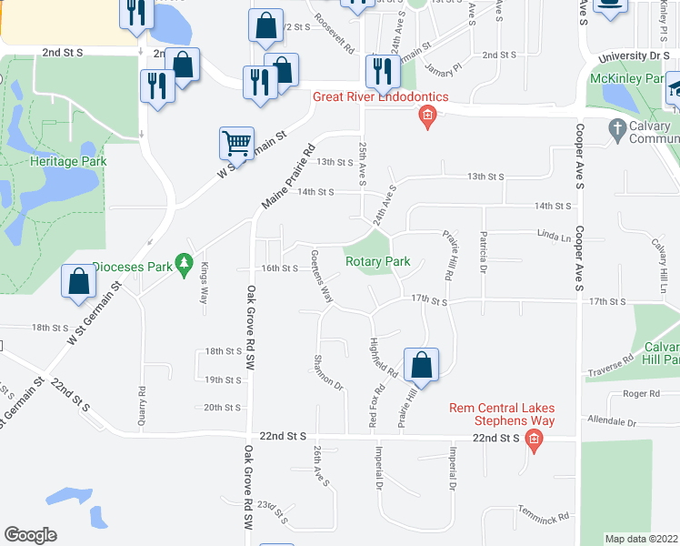 map of restaurants, bars, coffee shops, grocery stores, and more near Sun Circle in St. Cloud