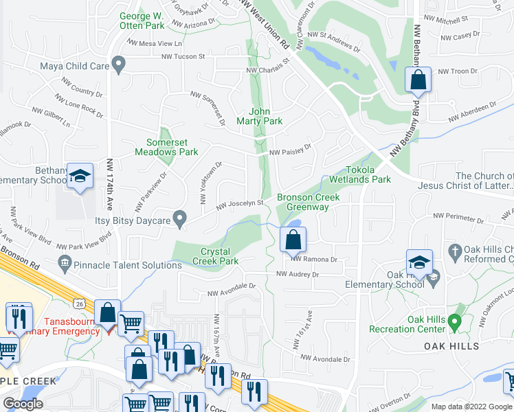 map of restaurants, bars, coffee shops, grocery stores, and more near 16510 Northwest Joscelyn Street in Beaverton