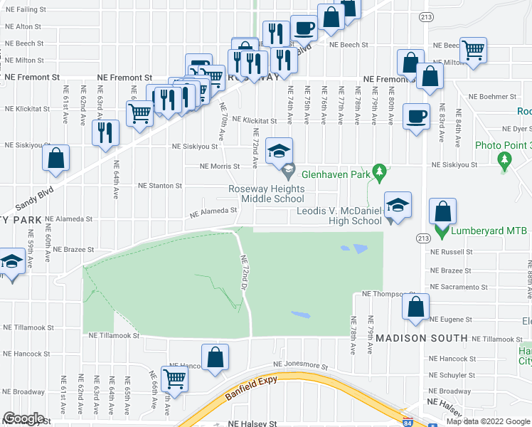 map of restaurants, bars, coffee shops, grocery stores, and more near 7222 Northeast Alameda Street in Portland