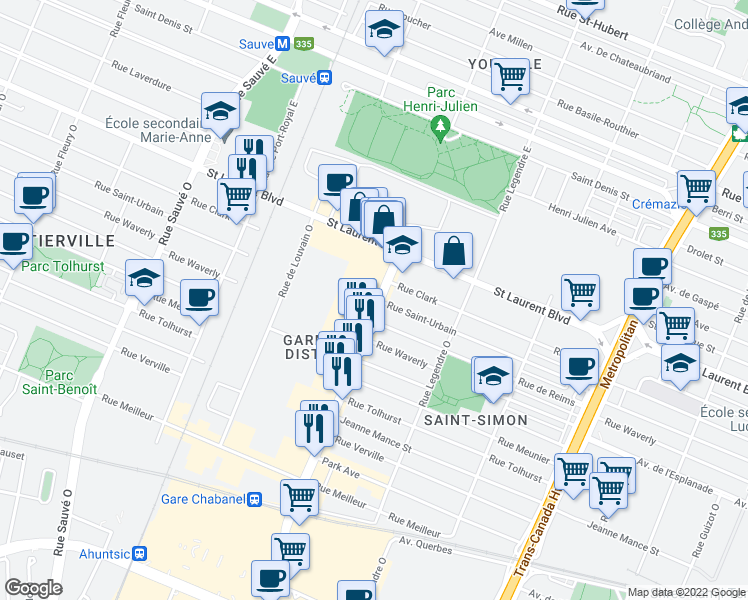 Map Of Restaurants Bars Coffee Shops Grocery Stores And More Near 99
