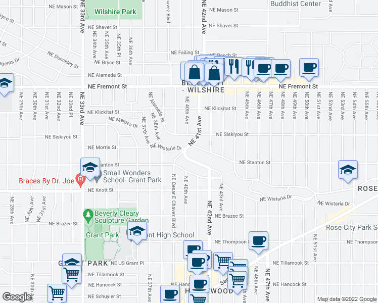 map of restaurants, bars, coffee shops, grocery stores, and more near 3000 Northeast 41st Avenue in Portland