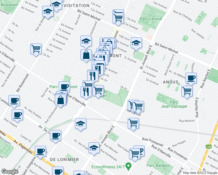 map of restaurants, bars, coffee shops, grocery stores, and more near 5255 1re Avenue in Montréal