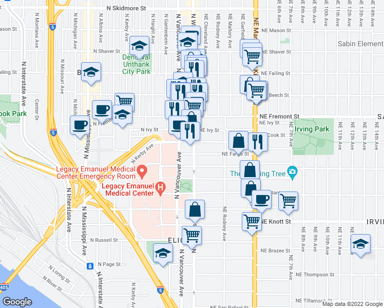 map of restaurants, bars, coffee shops, grocery stores, and more near 25 North Fargo Street in Portland