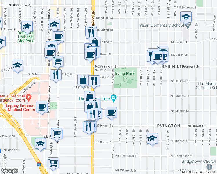 map of restaurants, bars, coffee shops, grocery stores, and more near 616 Northeast Fargo Street in Portland