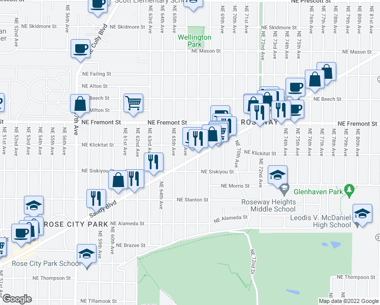map of restaurants, bars, coffee shops, grocery stores, and more near 3238 Northeast 66th Avenue in Portland