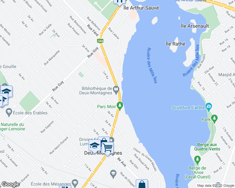 map of restaurants, bars, coffee shops, grocery stores, and more near 207 Chemin d'Oka in Deux-Montagnes