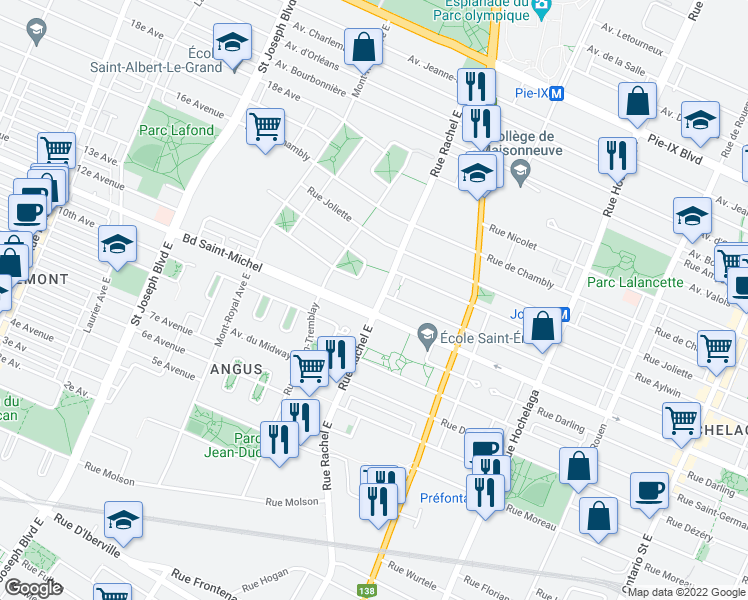 map of restaurants, bars, coffee shops, grocery stores, and more near 3411 Rue Rachel Est in Montréal