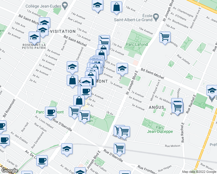 map of restaurants, bars, coffee shops, grocery stores, and more near 5171 6e Avenue in Montréal