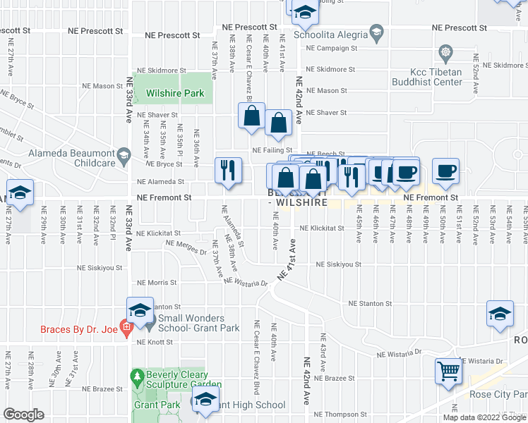 map of restaurants, bars, coffee shops, grocery stores, and more near 3406 Northeast Cesar E Chavez Boulevard in Portland