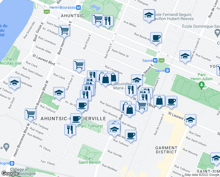 map of restaurants, bars, coffee shops, grocery stores, and more near 10150 Boulevard Saint-Laurent in Montréal