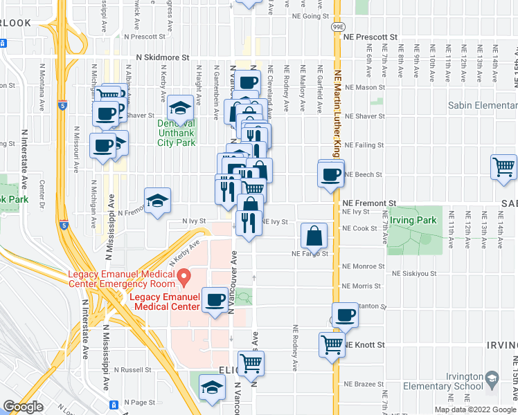 map of restaurants, bars, coffee shops, grocery stores, and more near 12 Northeast Fremont Street in Portland
