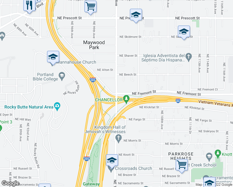 map of restaurants, bars, coffee shops, grocery stores, and more near NE Fremont St & NE 102nd Ave in Portland