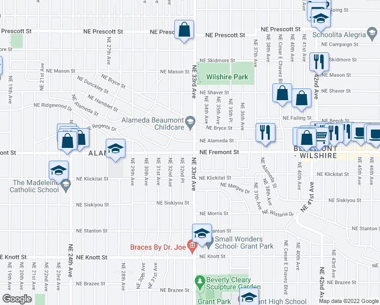 map of restaurants, bars, coffee shops, grocery stores, and more near 3297 Northeast Alameda Street in Portland