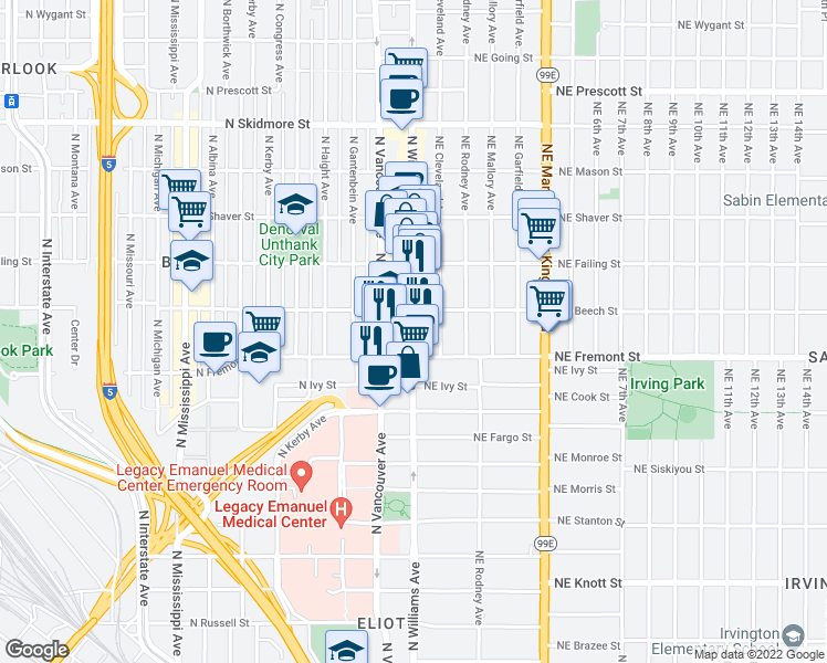 map of restaurants, bars, coffee shops, grocery stores, and more near 3600 N Williams Ave in Portland