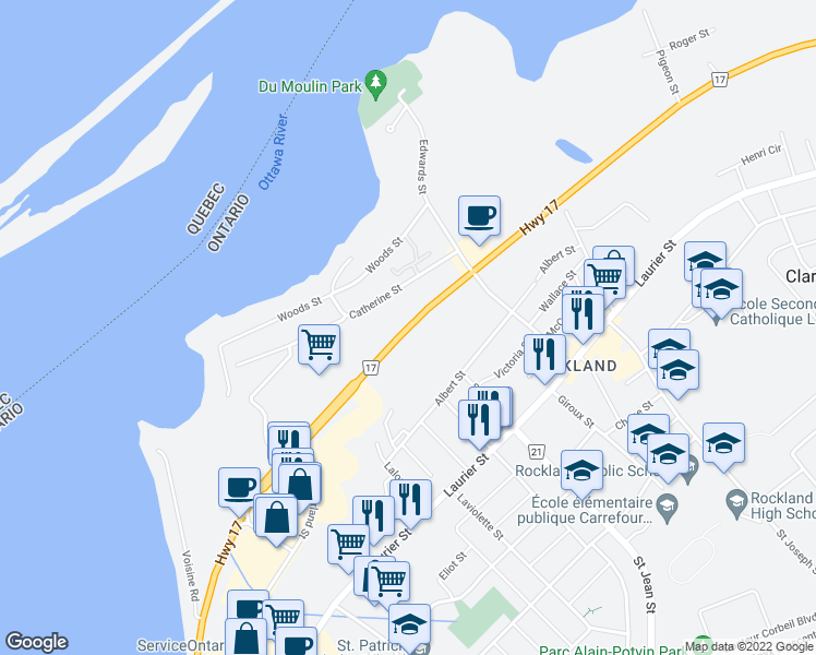 map of restaurants, bars, coffee shops, grocery stores, and more near Highway 17 in Clarence-Rockland