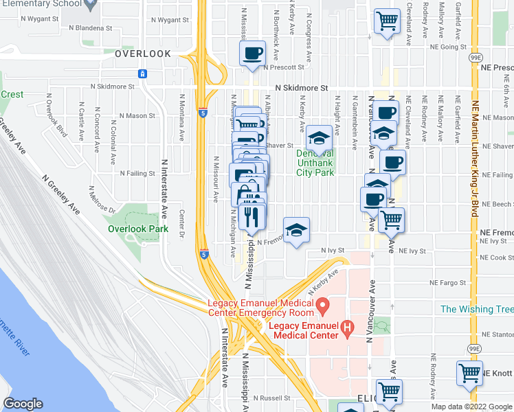map of restaurants, bars, coffee shops, grocery stores, and more near 832 North Beech Street in Portland