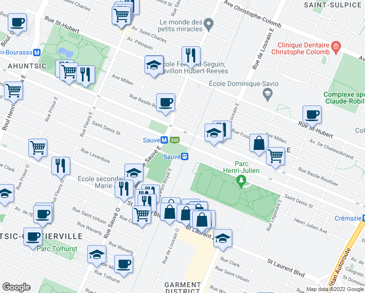 map of restaurants, bars, coffee shops, grocery stores, and more near 55 Rue de Louvain Ouest in Montréal