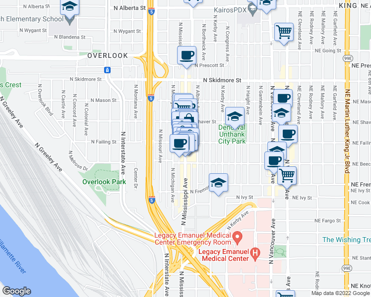 map of restaurants, bars, coffee shops, grocery stores, and more near 3701-3899 North Michigan Ave-Mississippi Avenue Alley in Portland