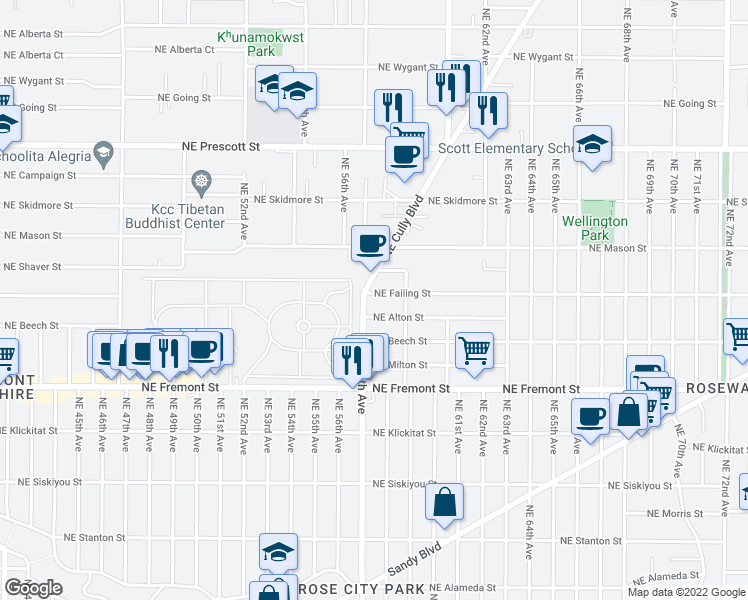 map of restaurants, bars, coffee shops, grocery stores, and more near 5716 Northeast Failing Street in Portland