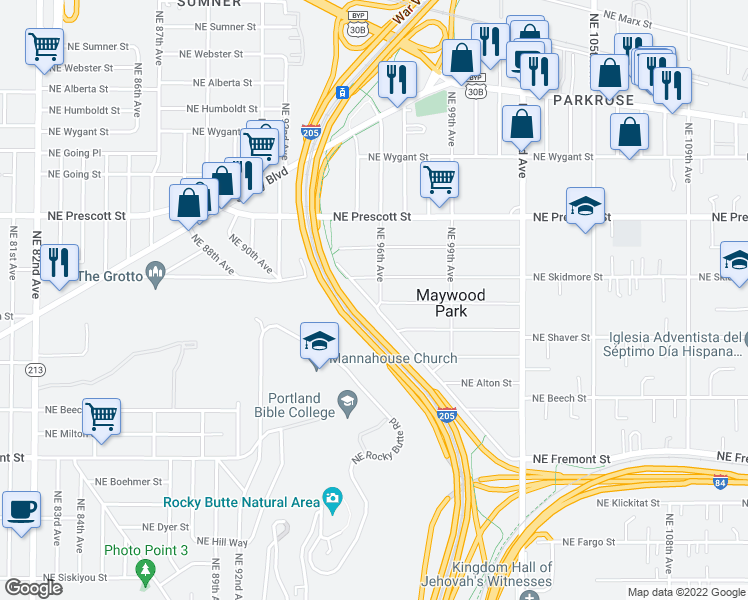 map of restaurants, bars, coffee shops, grocery stores, and more near 4120 Northeast Maywood Place in Portland