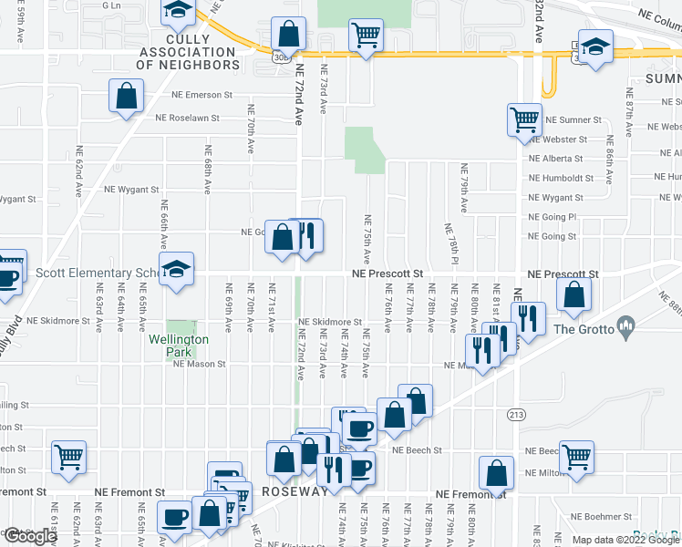 map of restaurants, bars, coffee shops, grocery stores, and more near Northeast Prescott Street in Portland