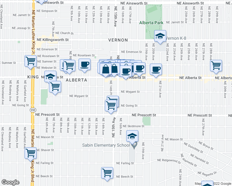 map of restaurants, bars, coffee shops, grocery stores, and more near 4745 Northeast 15th Avenue in Portland