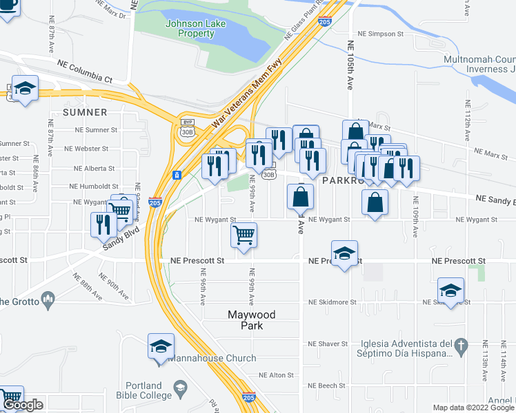 map of restaurants, bars, coffee shops, grocery stores, and more near 4740 Northeast 99th Avenue in Portland