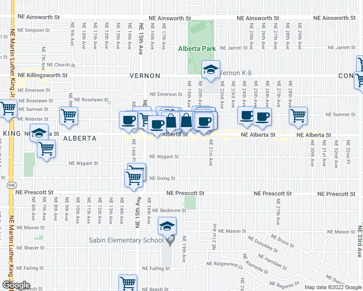 map of restaurants, bars, coffee shops, grocery stores, and more near 4900 Northeast 18th Avenue in Portland