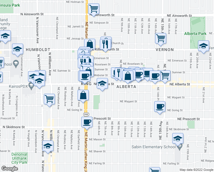 map of restaurants, bars, coffee shops, grocery stores, and more near 4950 Northeast 7th Avenue in Portland