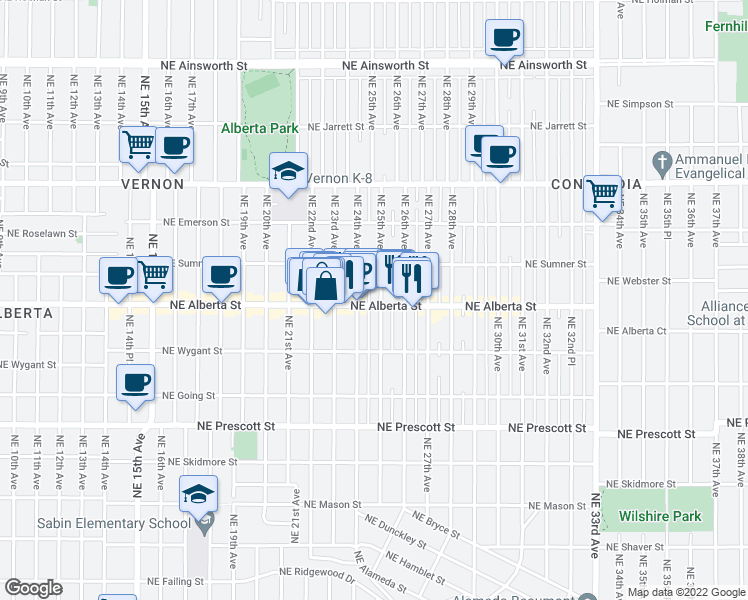 map of restaurants, bars, coffee shops, grocery stores, and more near 2425 Northeast Alberta Street in Portland