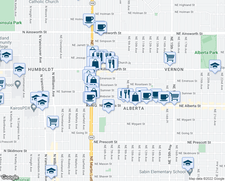 map of restaurants, bars, coffee shops, grocery stores, and more near NE Sumner St & NE 7th Ave in Portland