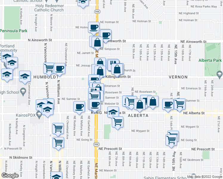 map of restaurants, bars, coffee shops, grocery stores, and more near 5272 Northeast 6th Avenue in Portland