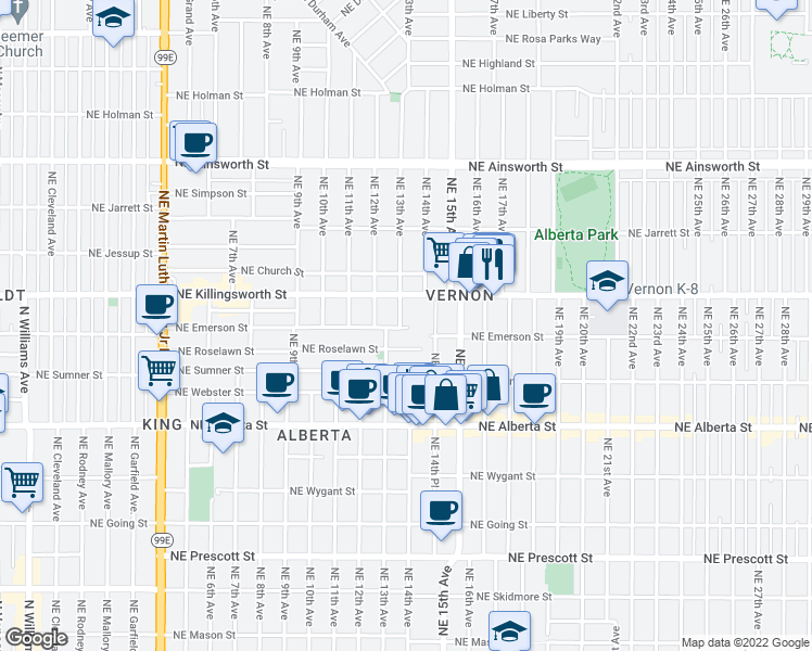 map of restaurants, bars, coffee shops, grocery stores, and more near 5312 Northeast 13th Avenue in Portland