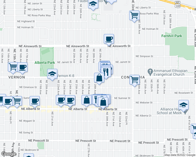 map of restaurants, bars, coffee shops, grocery stores, and more near 2834 Northeast Killingsworth Street in Portland