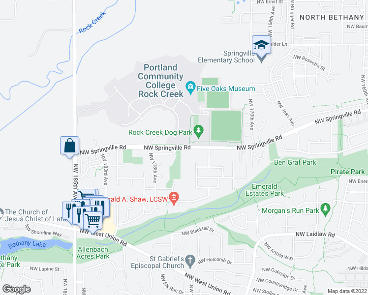 map of restaurants, bars, coffee shops, grocery stores, and more near 17516 Northwest Springville Road in Portland