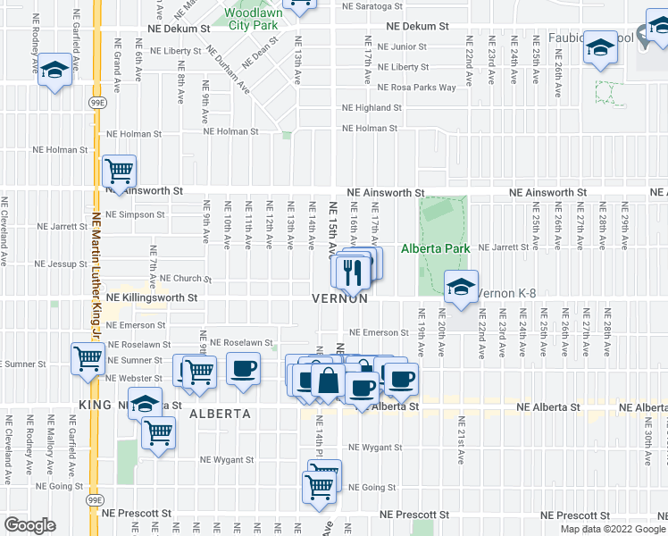 map of restaurants, bars, coffee shops, grocery stores, and more near 5672 Northeast 15th Avenue in Portland