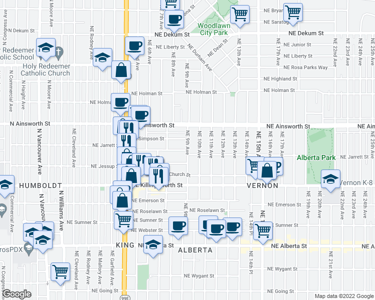 map of restaurants, bars, coffee shops, grocery stores, and more near Northeast Jarrett Street & Northeast 9th Avenue in Portland