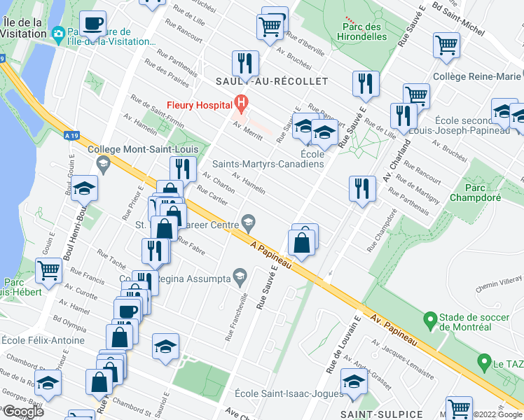 map of restaurants, bars, coffee shops, grocery stores, and more near 9990 Avenue Charton in Montréal