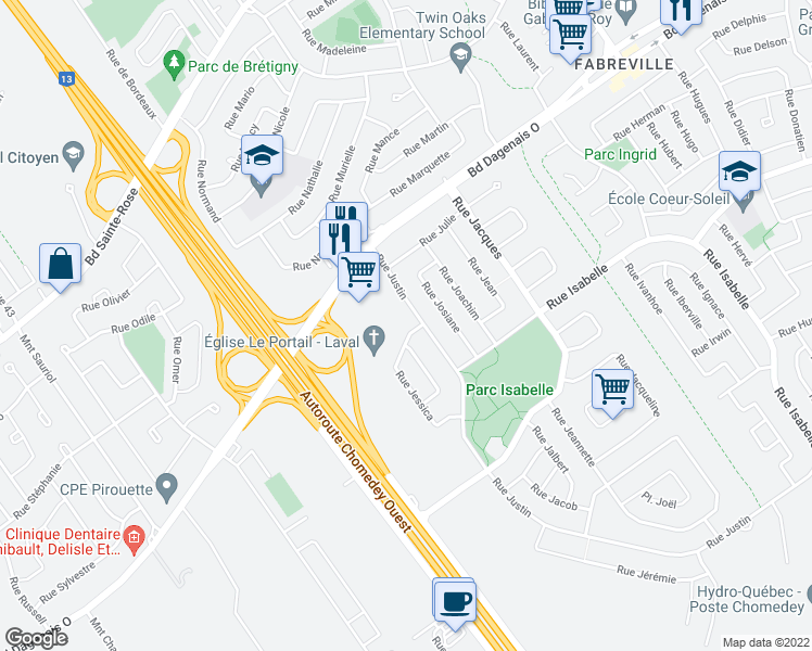 map of restaurants, bars, coffee shops, grocery stores, and more near 3800 Rue Jessica in Laval